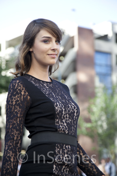 photo of a woman in black lace dress