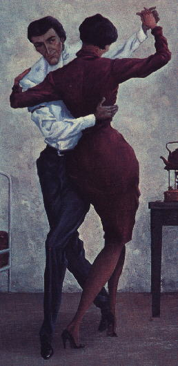 painting of a tall couple dancing tango